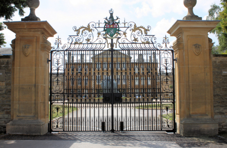Anyhoe Park was designed by Sir John Soane & landscaped by Capability Brown. These intricate wrought iron gates were based on a 17th century design and style and were handmade in our workshops by our skilled blacksmiths.