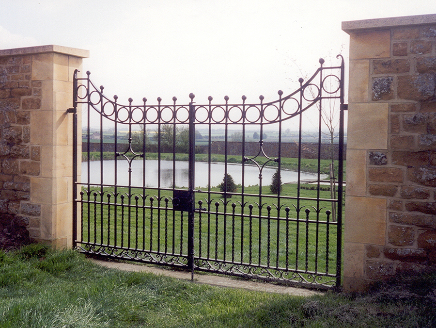 Lakeside Garden Gates. Incorporating twisted bar with ball ends.